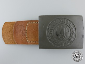 An Army Belt Buckle with Leather Tab by Ernst Schneider, Lüdenscheid