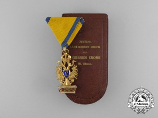 An Austrian Order of the Iron Crown in Gold with Original Case of Issue by Rothe
