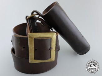 A German Leather Standard Bearer Belt by G.B., Berlin