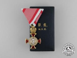 An Austrian Golden Cross of Merit with Crown in Gold by V. Mayer & Sohn