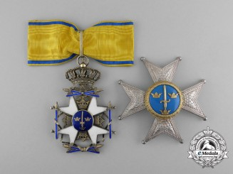 A Swedish Order of the Sword; Commander Set by C.F. Carlman, Stockholm