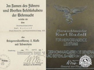 A Luftwaffe Plaque and KVK Award Document to Oberwachtmeister Kurt Rudolf