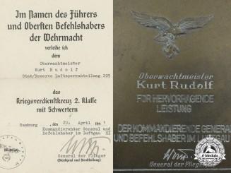 A Luftwaffe Plaque and KVK Award Document to Oberwachtmeister Kurt Rudolf