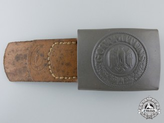 "An Army Belt Buckle with Leather Tab by ""Bruder Schneider A.G. WIEN"""
