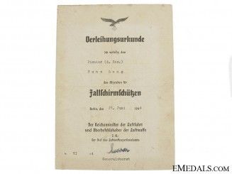 Fallschirmjäger Badge Award Document