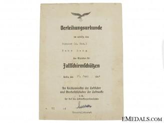 Fallschirmjäger Badge Award Document