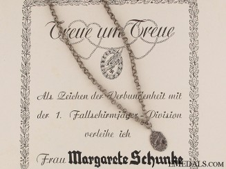 Fallschirmjäger Loyalty Chain & Certificate