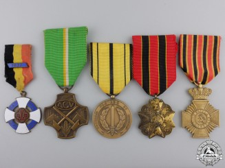 Five Civil Belgian Medals & Awards