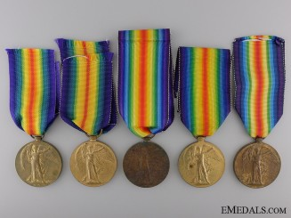 Five First War British Victory Medals