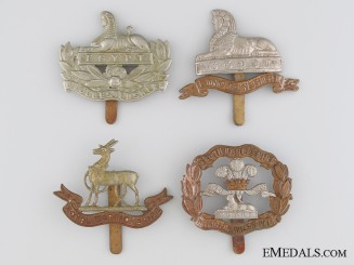 Four First & Second War British Cap Badges