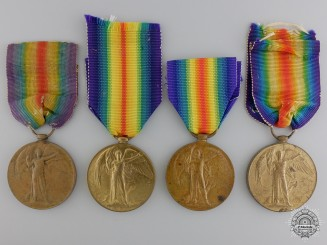 Four First War British Victory Medals