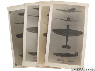 Four WWII Aircraft ID Hanger Posters