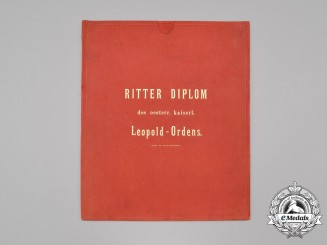 An Official Award Document Folder for the Order of Leopold