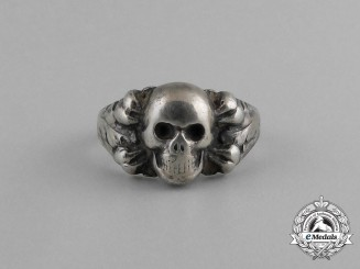 A Third Reich Period German Skull Ring; Marked 800