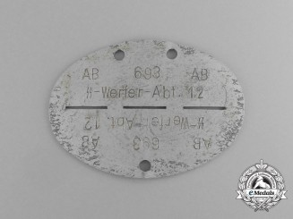 A Waffen-SS Smoke Troop Section 12 Identification Tag