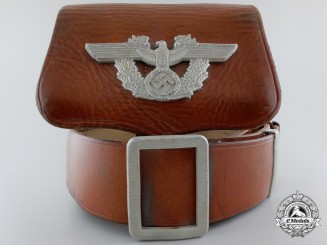 A German Police Dress Cross Belt & Buckle with Pouch