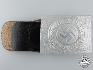 A German Police Buckle with Leather Tab