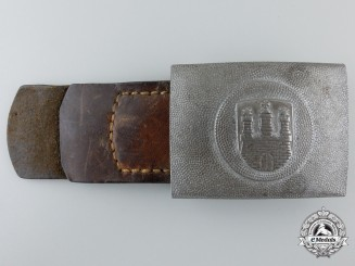 A City of Hamburg Fire Defense Buckle with Leather Tab