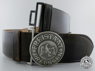 A Prussian Schutzpolizei Officer's Belt & Buckle, 1930-1935; Published Buckle