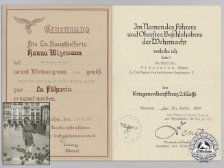 Award Documents & Photographs to Female Air News Leader; 3./Luftgau Nachrichten Regiment 7