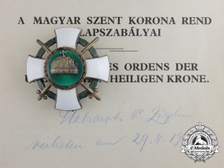 A Hungarian Order of the Holy Crown with Swords & Document German Recipient