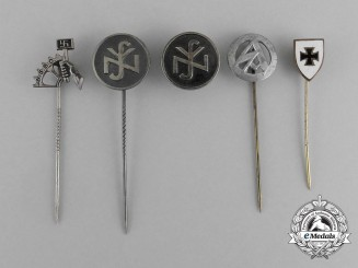 Five Second War German Membership and Supporter's Badges and Stick Pins