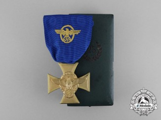 A Mint Police 25 Year Long Service Cross; First Class in its Original Case of Issue