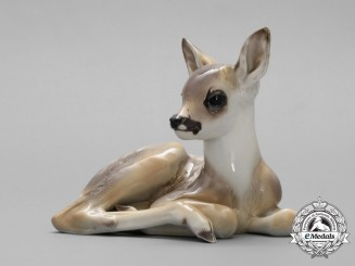 An SS Allach-Made Fawn Figurine by Theodor Kärner