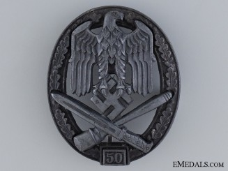 General Assault Badge; Marked 50; Grade III