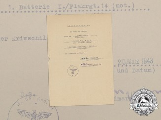 A Luftwaffe Crimea Shield Award Document to Motorized Flak Regiment 14