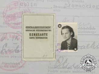 A Wartime ID Card for Occupied Poland to Janina Zdanowicz