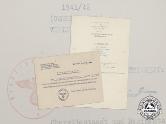 Two Certificates for Eastern Front Medal to Obergefreiter of Flak Regiment