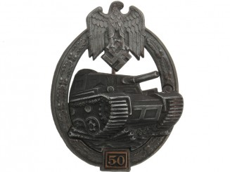 "Tank Assault Badge, Silver Grade, ""50""."