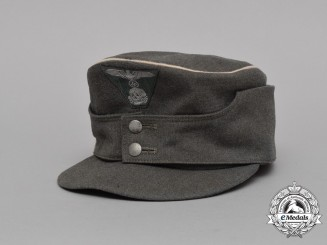 A Mint Late War Waffen-SS M43 Field Cap Constructed of Captured Italian Gabardine