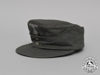 A Mint Late War Waffen-SS M43 Field Cap Constructed of Italian Gabardine