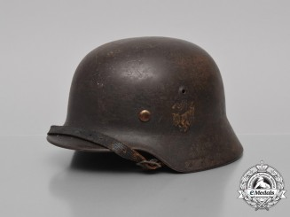 A Single Decal M35 Kriegsmarine Re-Issued Stahlhelm by Eisenhüttenwerke