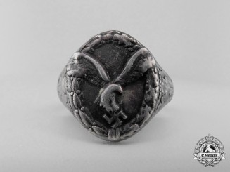 A Second War Silver Luftwaffe Pilot's Ring