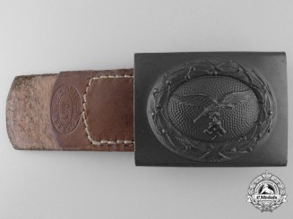 A Mint Luftwaffe Enlisted Buckle with Tab by Dransfeld & Co