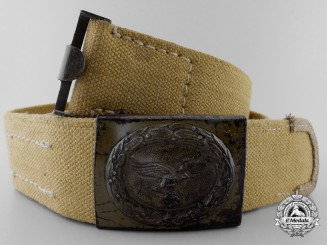 A Luftwaffe Tropical Buckle and Webbed Belt; Published Example