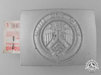 A Mint HJ Belt Buckle by Gustav Emil Ficker with RZM Control Tag