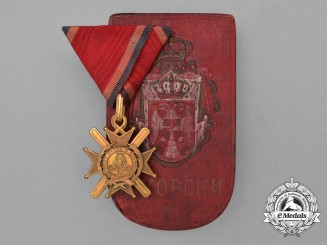 A Serbian Order of the Cross of Takovo; 5th Class Knight, Cased