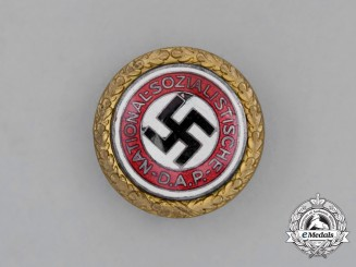 A NSDAP Golden Party Badge by Deschler & Sohn of Munich