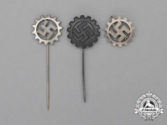Three DAF (German Labour Front) Membership Badges and Stickpins