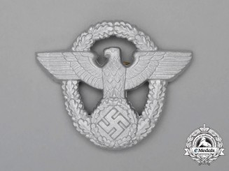 A Mint and Unissued Second War German Police/Gendarmerie Police Cap Eagle; Marked
