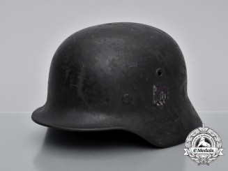 A Single Decal M40 Wehrmacht Heer Helmet by V.D. Nickelwerke; Bullet Damaged