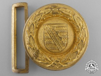 A Weimar Republic Province of Saxony Fire Defence Officer's Belt Buckle; Published