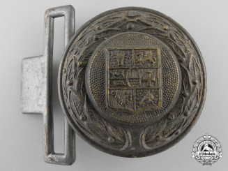 A Third Reich Period Mecklenburg Fire Defence Officer's Belt Buckle; Published