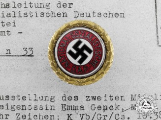 An NSDAP Golden Party Badge; Small Version to Emma Genck