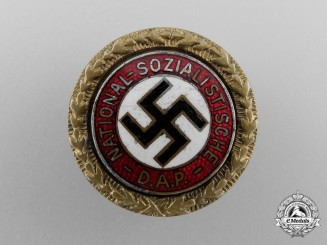An NSDAP Golden Party Badge; Small Version to Friedrich Beinlich