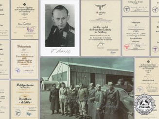 Germany, Luftwaffe. A Group of Documents to a Fighter Ace Fritz Karch; 47 Air Victories